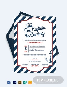 Printable Nautical Baby Shower Invitation Template