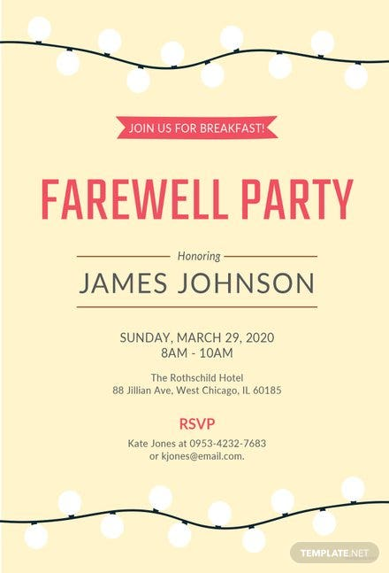 Free Farewell Breakfast Invitation Template