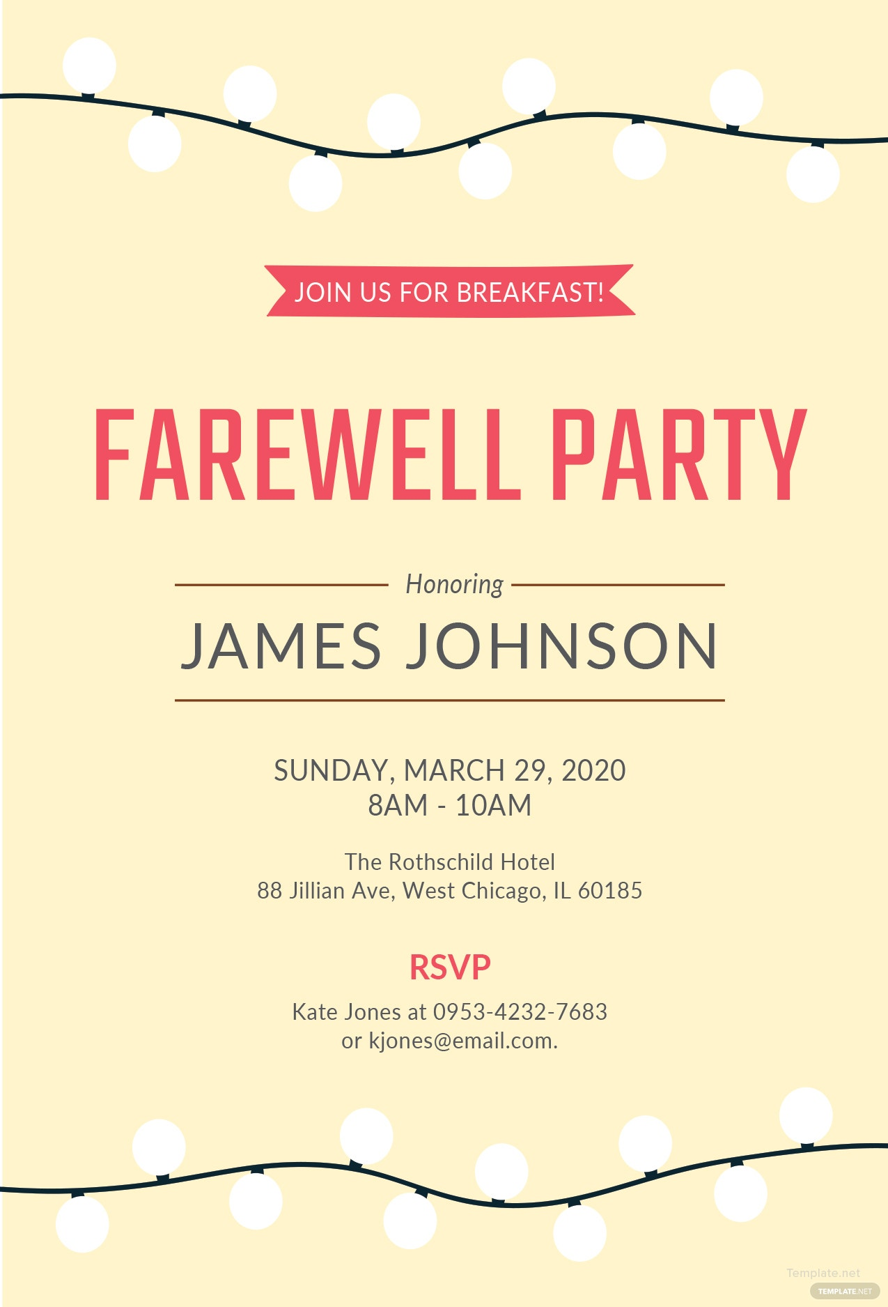 Free Farewell Breakfast Invitation Template in MS Word ...