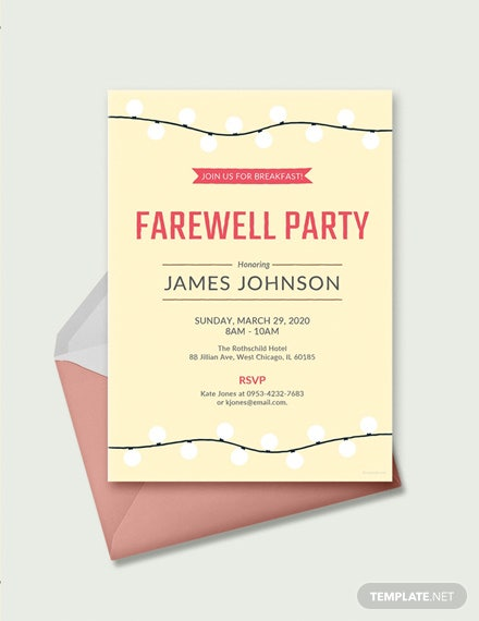 free farewell breakfast invitation template download 344
