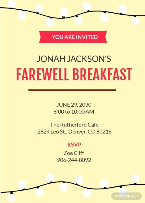 Farewell Breakfast Invitation Template