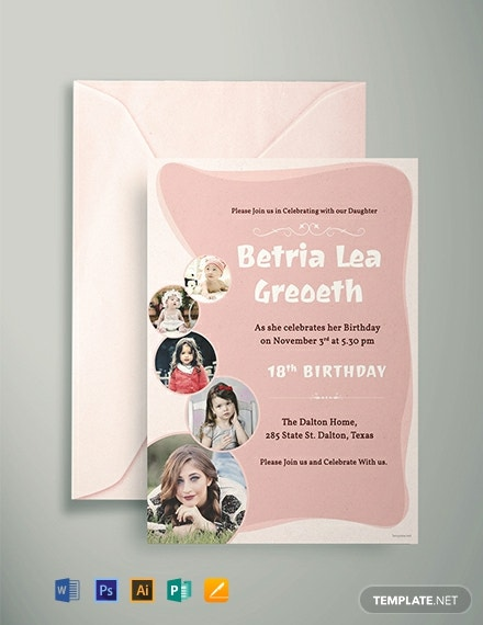 Free 18th Birthday Invitation Template