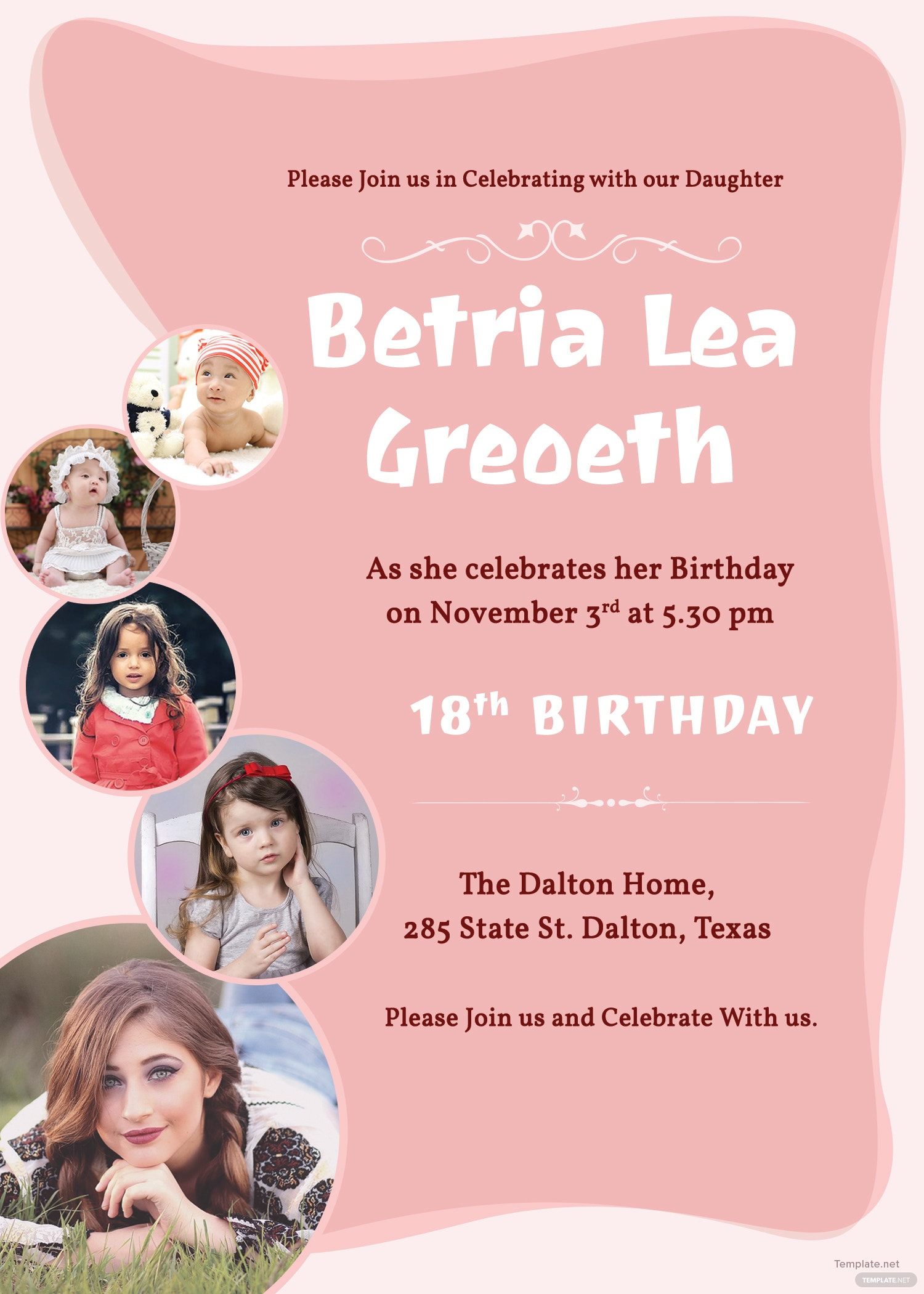 18th Birthday Invitation Template in Adobe Photoshop, Illustrator ...