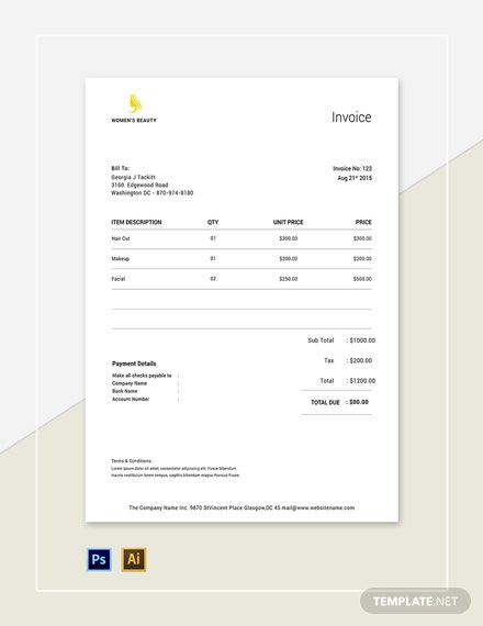 Beauty Parlor Invoice Template