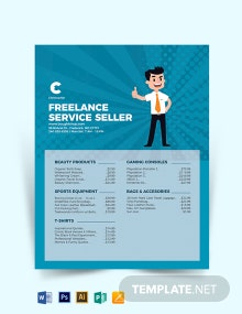 Freelance Price List Card Template
