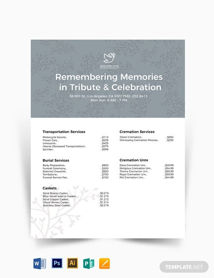 Funeral Price List Template