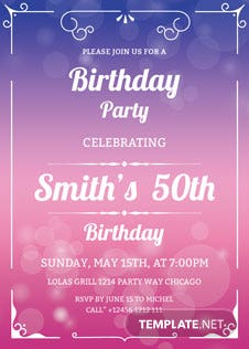 50th Birthday Invitation Template