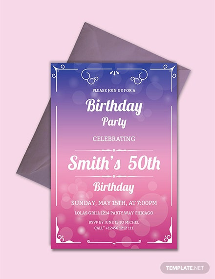 50th birthday invitation template - Free Birthday Templates