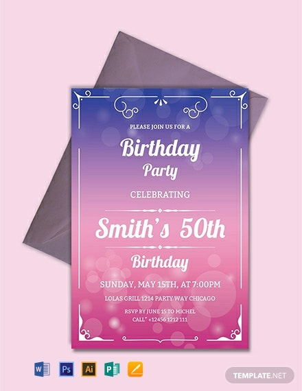 Free 50th Birthday Invitation Template