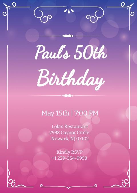 Free 50th Birthday Invitation Template.jpe