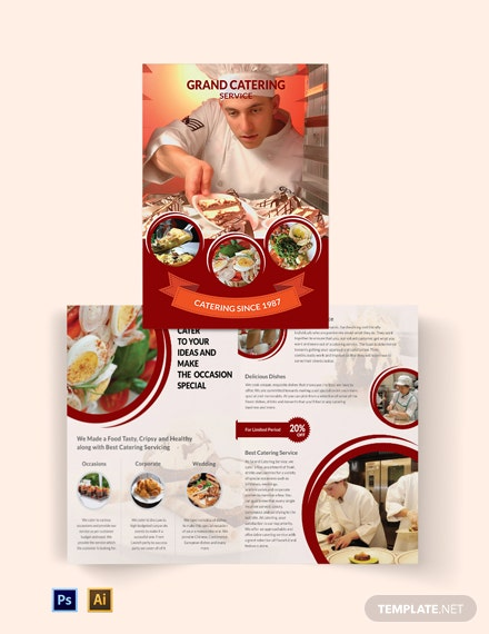 Catering Service Bi-Fold Brochure Template