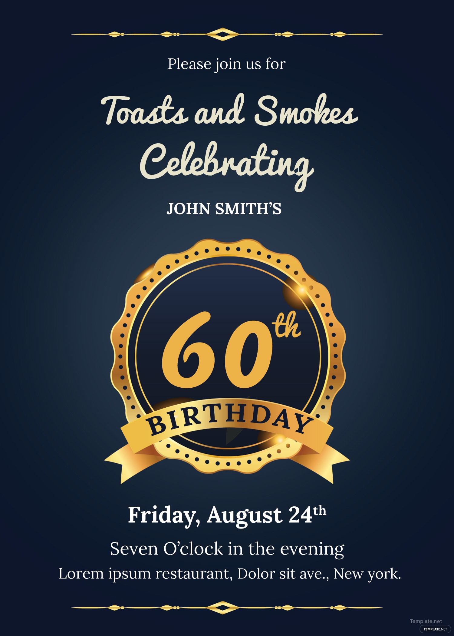 60th Birthday Invitation Template in Adobe Photoshop ...