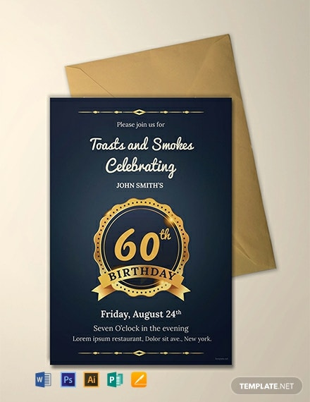 Free 60th Birthday Invitation Template