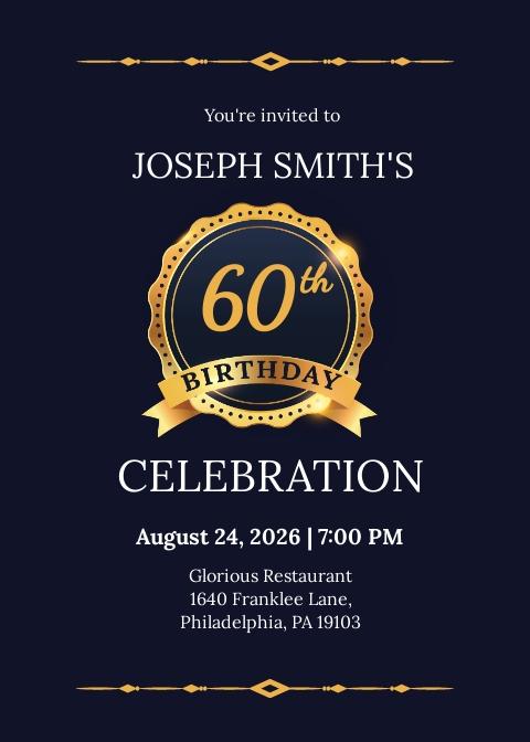 Free 60th Birthday Invitation Template