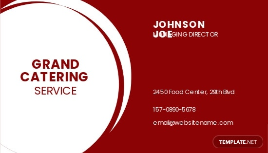 Professional Catering Service Business Card Template
