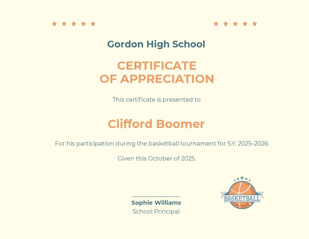 Basketball Appreciation Certificate Template