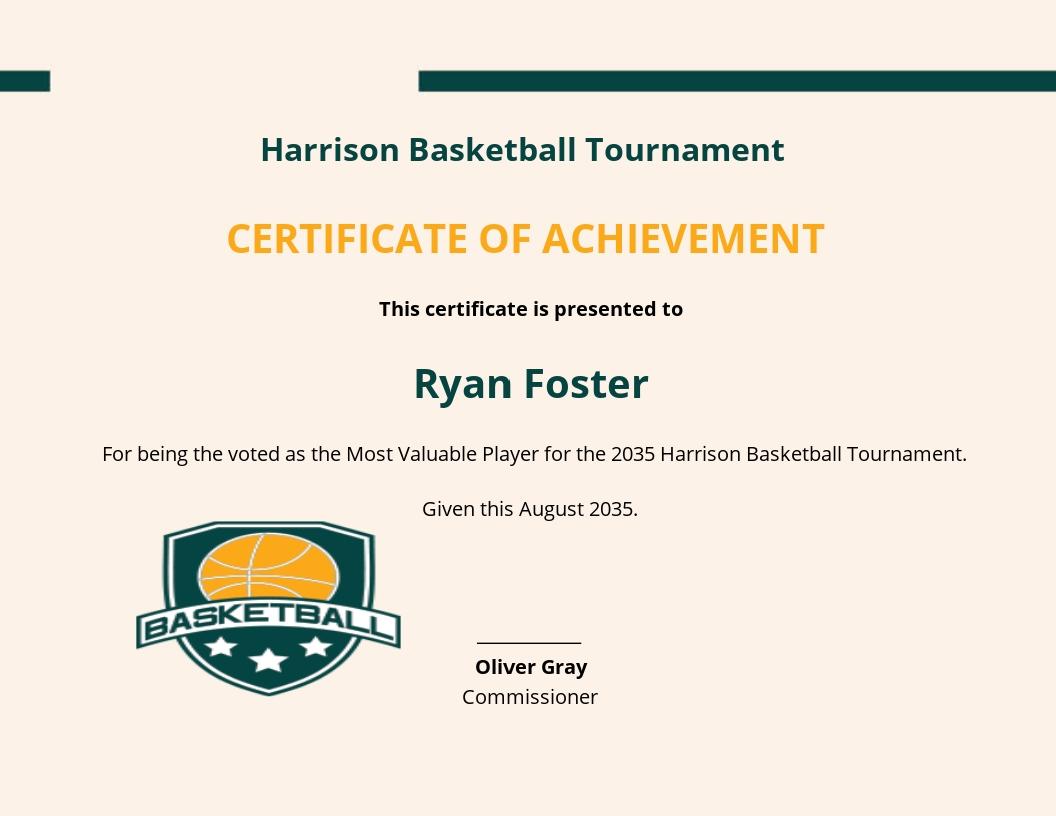 Basketball Certificate Of Achievement Template.jpe