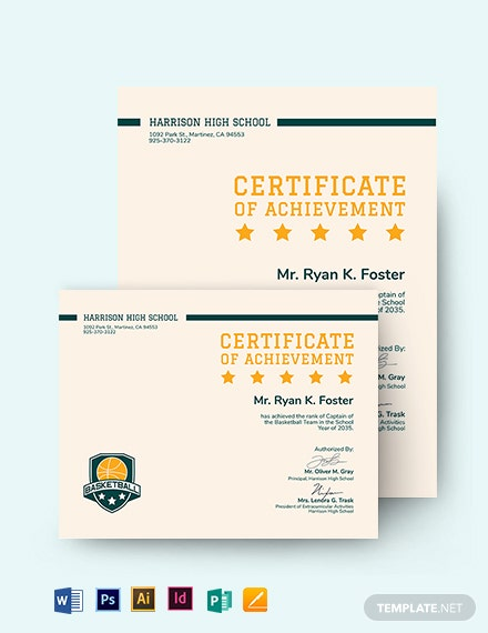 basketball certificate of achievement template
