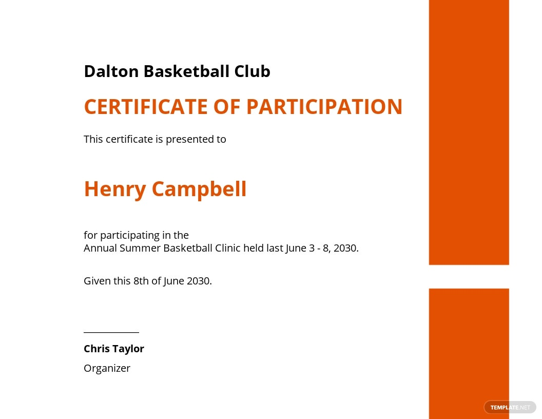 Basketball Certificate Of Participation Template