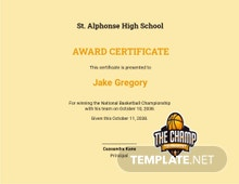 Basketball Champion Certificate Template