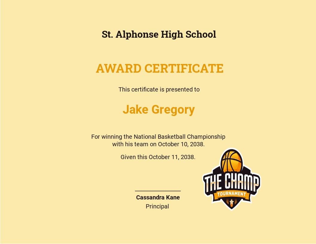 Basketball Champion Certificate Template