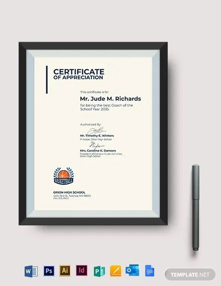 Basketball Coach Appreciation Certificate Template