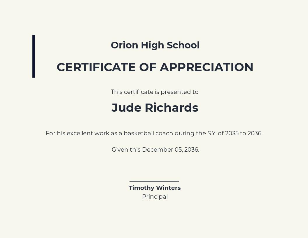 Basketball Coach Appreciation Certificate Template