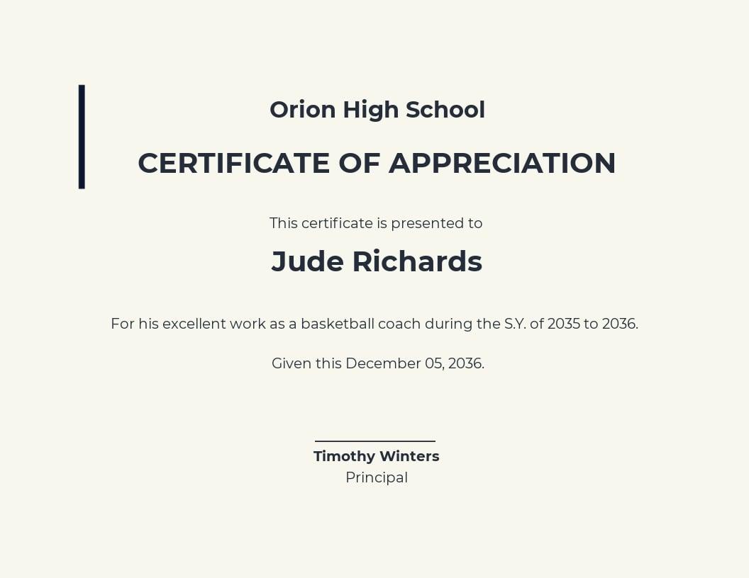 Basketball Coach Appreciation Certificate Template.jpe