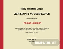 Basketball Training Certificate Template
