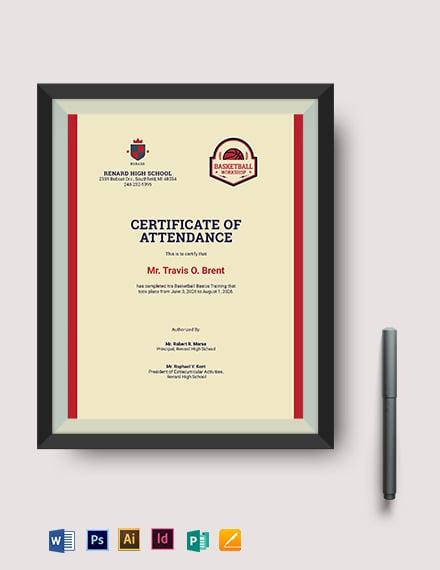 Basketball Training Certificate Template
