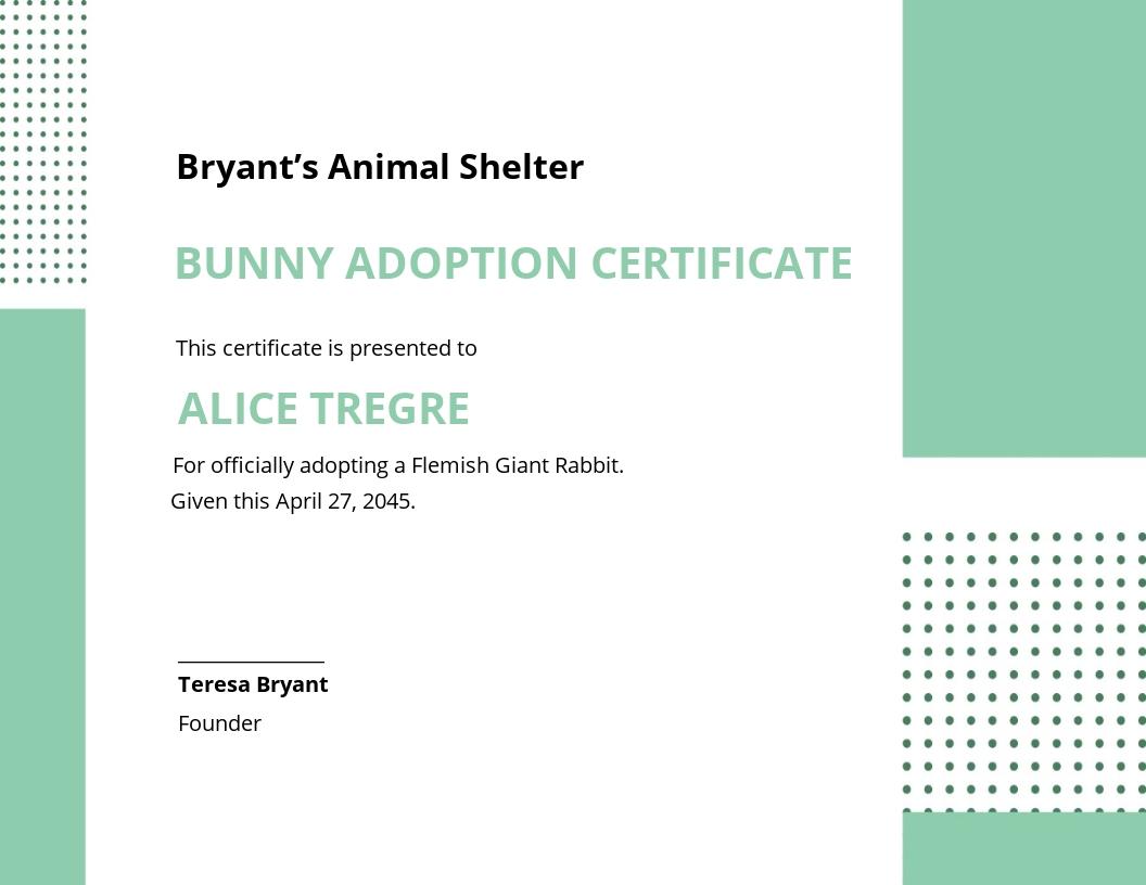Bunny Adoption Certificate Template
