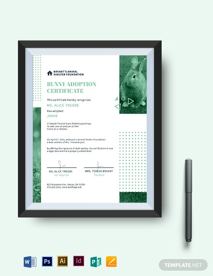 bunny adoption certificate template