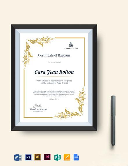 Catholic Baptismal Certificate Template