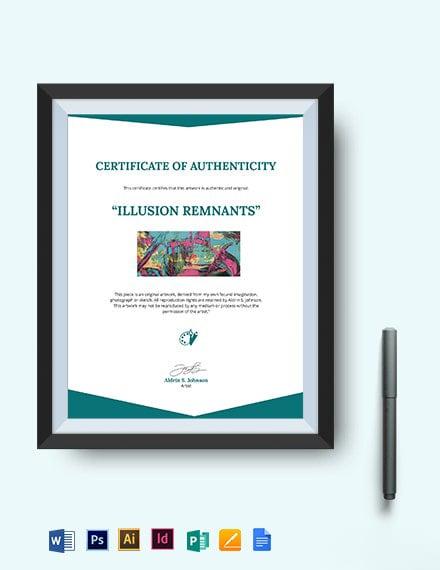 Certificate Authenticity Artwork Template