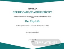 Certificate Authenticity Artwork Template