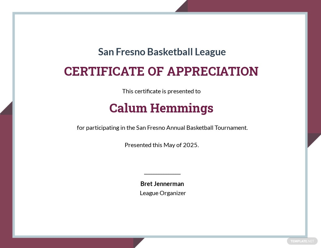 Certificate Of Appreciation For Basketball Tournament Template