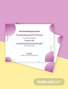 Cheerleading Award Certificate Template