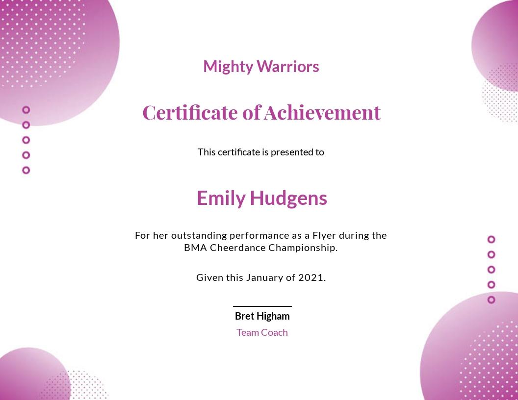 Cheerleading Certificate Of Achievement Template
