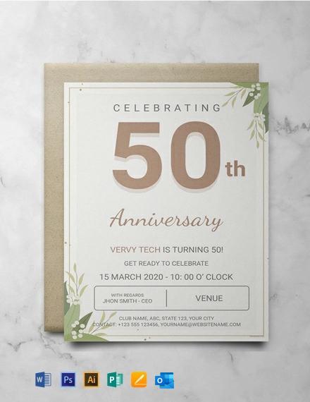 Free Corporate Anniversary Invitation Template