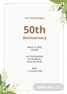 Free Corporate Anniversary Invitation Template