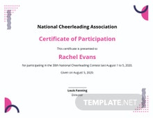 Cheerleading Certificate Of Participation Template