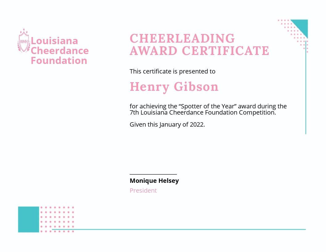 Cheerleading Certificate Template