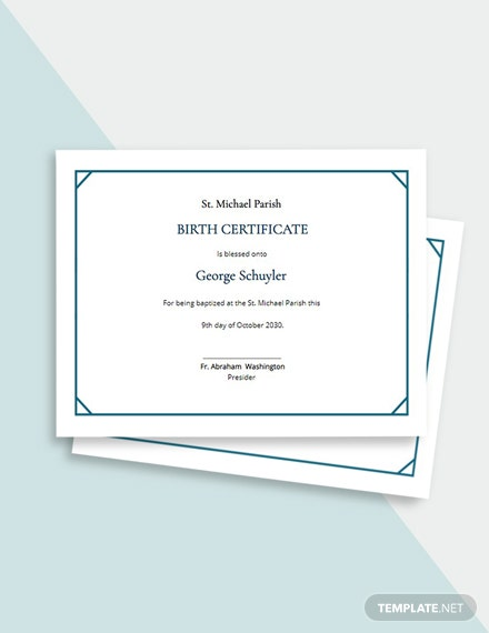 Child Baptism Certificate Template