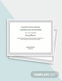 Christian Baptism Certificate Template