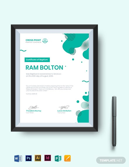 Church Baptismal Certificate Template