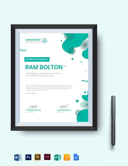 Creative Baptism Certificate Template