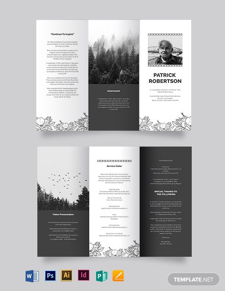 Blank Funeral Memorial  TriFold Brochure Template
