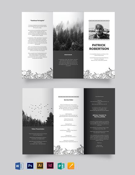 Blank Funeral Memorial Tri-Fold Brochure Template