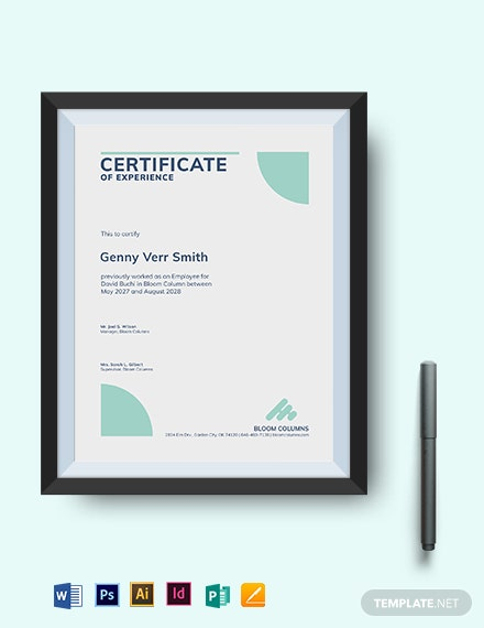 company experience certificate template