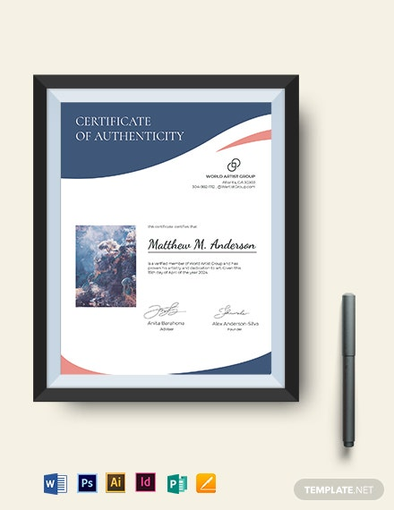 creative artist authenticity certificate